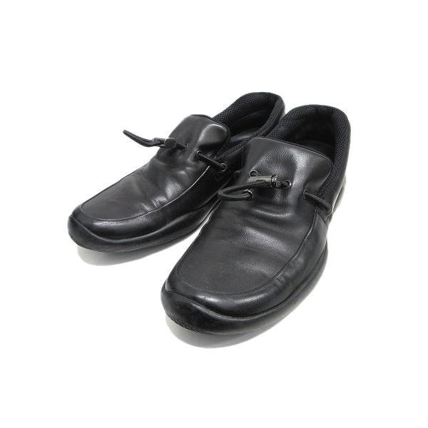 中古 プラダスポーツPRADASPORTレザースリッポンドローコードロゴ金具シューズ革靴ローファー744サイズ7黒ブラックメン