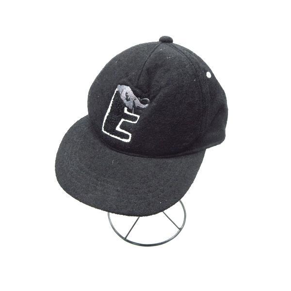 中古 ベーシックエンティBasiquentiロゴ動物ウールスナップバックキャップ帽子6パネル黒ブラックレディース ベクトル古着
