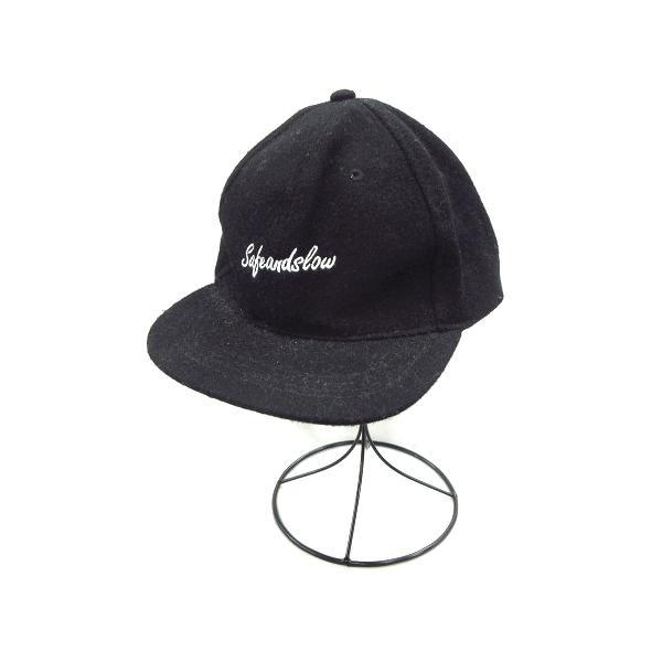 中古 グローバルワークGLOBALWORKウールキャップストラップバック帽子文字刺繍黒ブラックレディース ベクトル古着