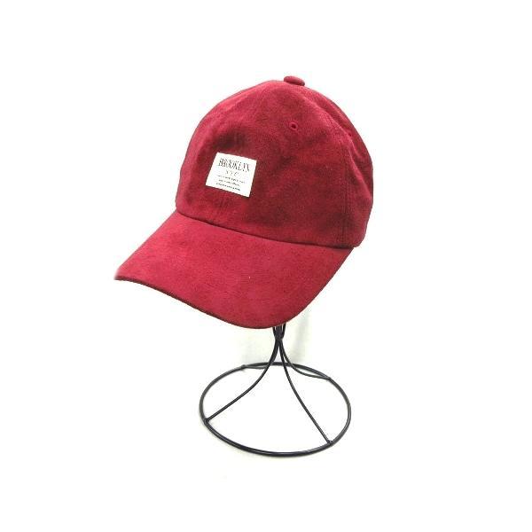 中古 ブルックリンBROOKLYNベロア調キャップストラップバック帽子6パネル赤レッドレディース ベクトル古着