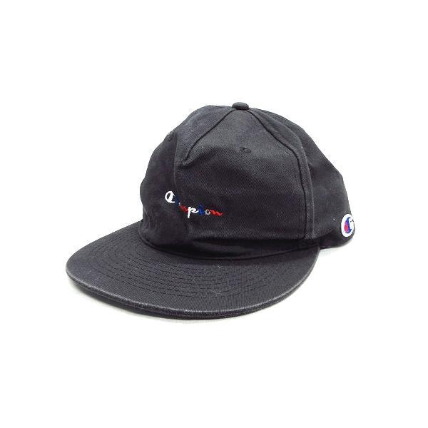中古 チャンピオンCHAMPIONスナップバックキャップ帽子6パネルロゴ刺繍黒ブラックメンズ▼▼12 ベクトル古着