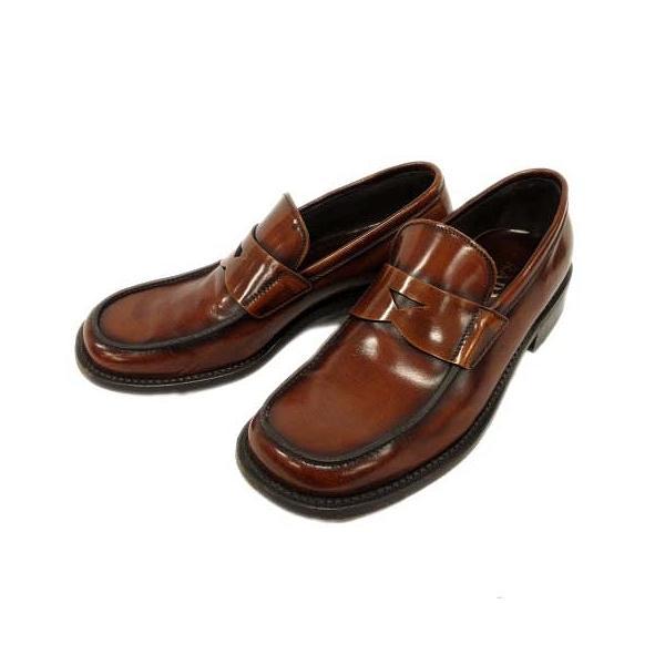 中古 プラダPRADAコインペニーローファードレスシューズ靴レザーラウンドトゥヒール8茶ブラウンメンズ 2 ベクトル古着