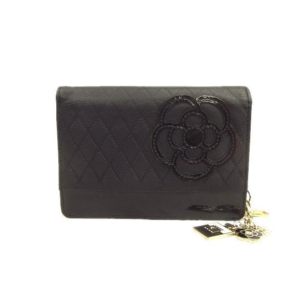 中古 クレイサスCLATHASフェイクレザーエナメル切替二つ折り財布小銭入れウォレットチェーン付きロゴ黒ブラック 3 ベクトル