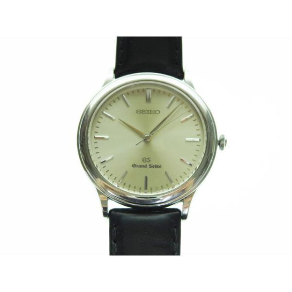 中古 グランドセイコーGRANDSEIKO90'S9581-7000腕時計クォーツシルバー×ブラック稼働品革ベルトドレスウォッ