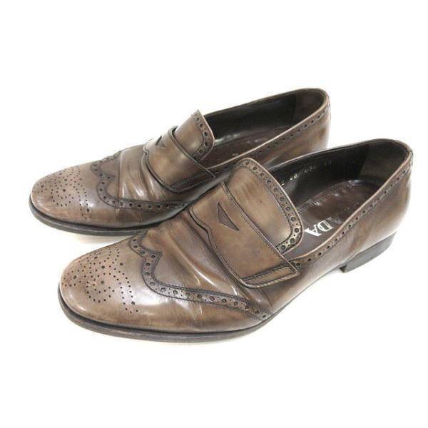 中古 プラダPRADAレザーコインローファー革靴ビジネスシューズ6.5カーキベージュ系本革メンズ ベクトル古着