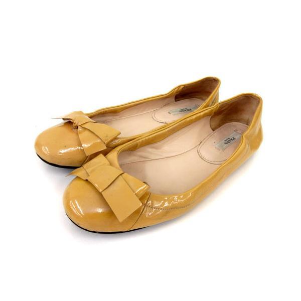 中古 プラダPRADAバレエシューズパンプスフラットリボンパテントレザー黄色37靴シューズFK NVWレディース ベクトル古着
