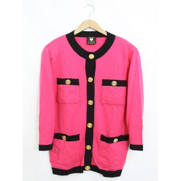 ビッキー VICKY カーディガン 羽織 バイカラー 肩パット ウール 長袖 9 ピンク /YT13 レディース【中古】【ベクトル 古着】|vectorpremium