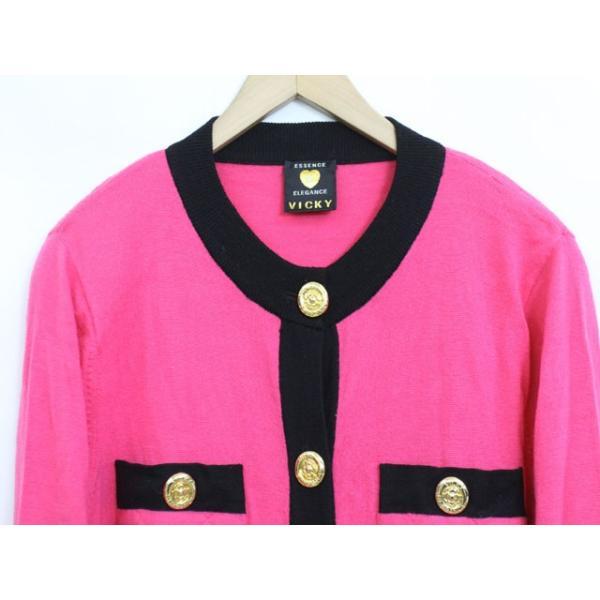 ビッキー VICKY カーディガン 羽織 バイカラー 肩パット ウール 長袖 9 ピンク /YT13 レディース【中古】【ベクトル 古着】|vectorpremium|04