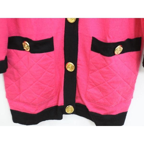 ビッキー VICKY カーディガン 羽織 バイカラー 肩パット ウール 長袖 9 ピンク /YT13 レディース【中古】【ベクトル 古着】|vectorpremium|06