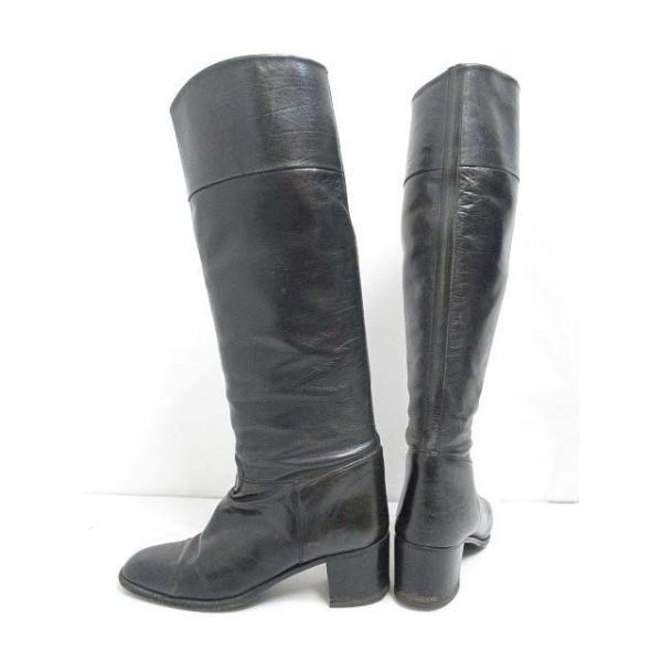 グッチ GUCCI レザー ロング ジョッキー ブーツ GG 36 黒 ブラック 23cm 靴 シューズ レディース【中古】【ベクトル 古着】