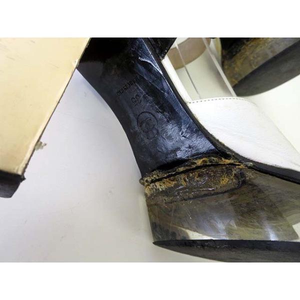 シャネル CHANEL サンダル エナメル レザー ロゴ 刻印 アンクルベルト 35 白 黒 ブラック くつ 靴 シューズ レディース 【中古】【ベクトル 古着】|vectorpremium|08