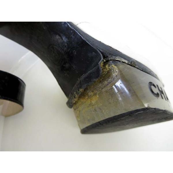 シャネル CHANEL サンダル エナメル レザー ロゴ 刻印 アンクルベルト 35 白 黒 ブラック くつ 靴 シューズ レディース 【中古】【ベクトル 古着】|vectorpremium|09