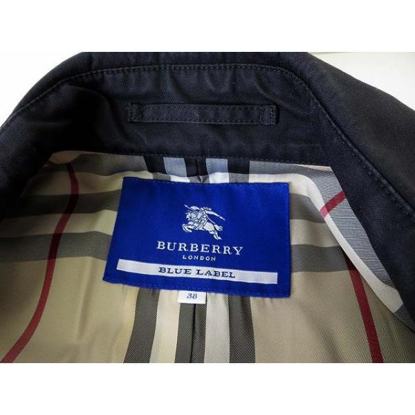 【中古】バーバリーブルーレーベル BURBERRY BLUE LABEL コート トレンチコート タック Aライン ノバチェック 38 黒 ブラック 国内正規品 レディース|vectorpremium|07