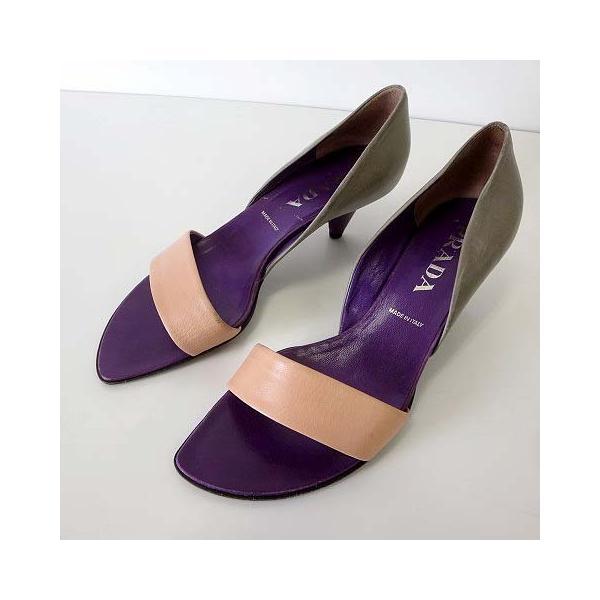 中古 プラダPRADAサンダルパンプスヒールトリプル配色本革レザー38.5グレーピンク紫パープル24.5cmくつ靴シューズレデ