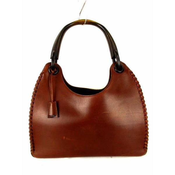 b43ef76962b5 グッチ GUCCI レザー ハンド バッグ ウッドハンドル 持ち手木製 ショルダーバッグ 革 鞄 カバン 茶