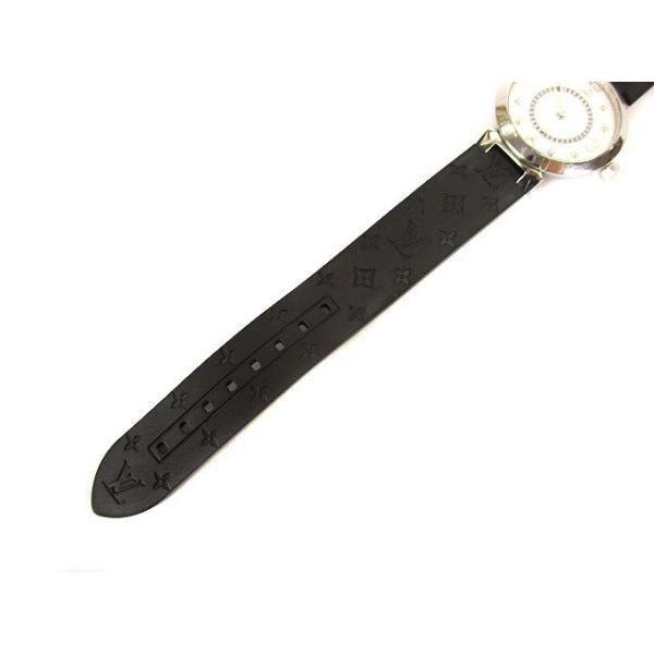 ルイヴィトン LOUIS VUITTON タンブールスリム モノグラムPM 腕時計 クォーツ ウォッチ 8Pダイヤ ラバーベルト Q12MG シルバー 黒【中古】【ベクトル 古着】|vectorpremium|03