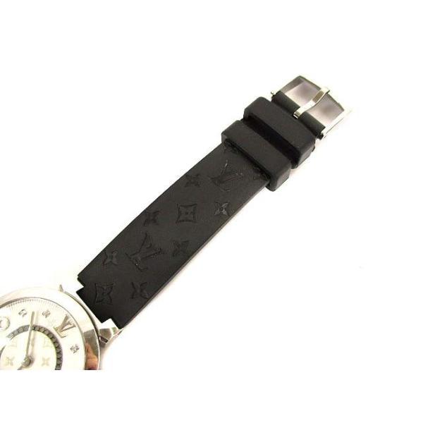 ルイヴィトン LOUIS VUITTON タンブールスリム モノグラムPM 腕時計 クォーツ ウォッチ 8Pダイヤ ラバーベルト Q12MG シルバー 黒【中古】【ベクトル 古着】|vectorpremium|04