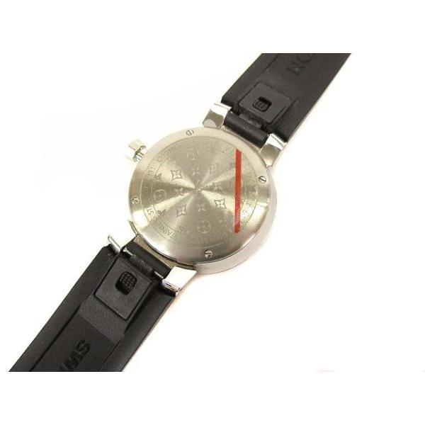 ルイヴィトン LOUIS VUITTON タンブールスリム モノグラムPM 腕時計 クォーツ ウォッチ 8Pダイヤ ラバーベルト Q12MG シルバー 黒【中古】【ベクトル 古着】|vectorpremium|05