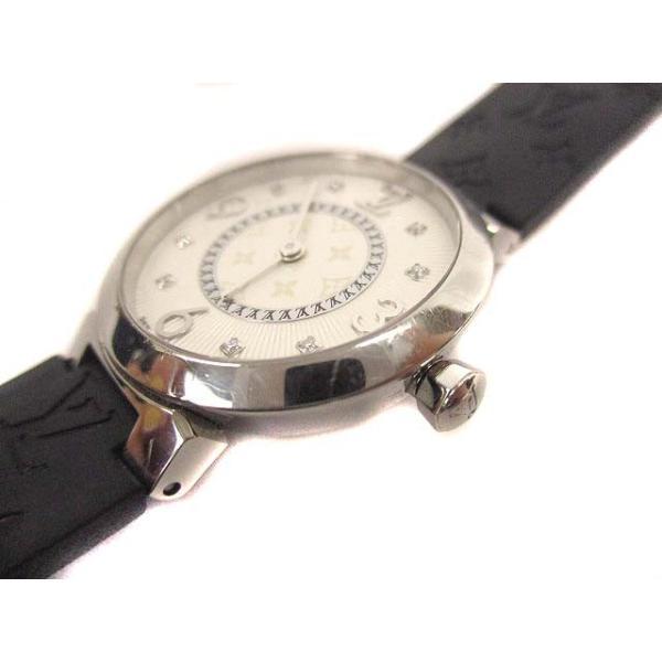 ルイヴィトン LOUIS VUITTON タンブールスリム モノグラムPM 腕時計 クォーツ ウォッチ 8Pダイヤ ラバーベルト Q12MG シルバー 黒【中古】【ベクトル 古着】|vectorpremium|06