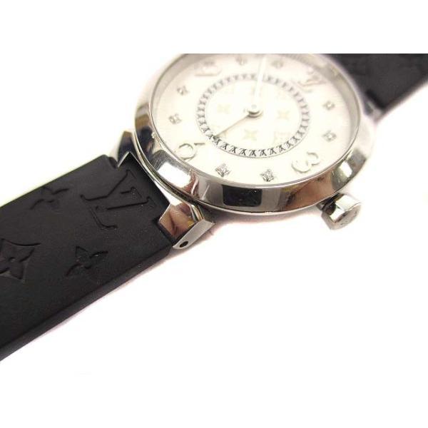 ルイヴィトン LOUIS VUITTON タンブールスリム モノグラムPM 腕時計 クォーツ ウォッチ 8Pダイヤ ラバーベルト Q12MG シルバー 黒【中古】【ベクトル 古着】|vectorpremium|07