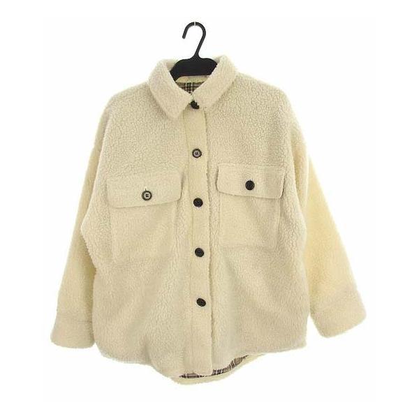 【中古】しまむら 2PINK ボア シャツジャケット 上着 アウター 裏地チェック アイボリー M レディース 【ベクトル 古着】