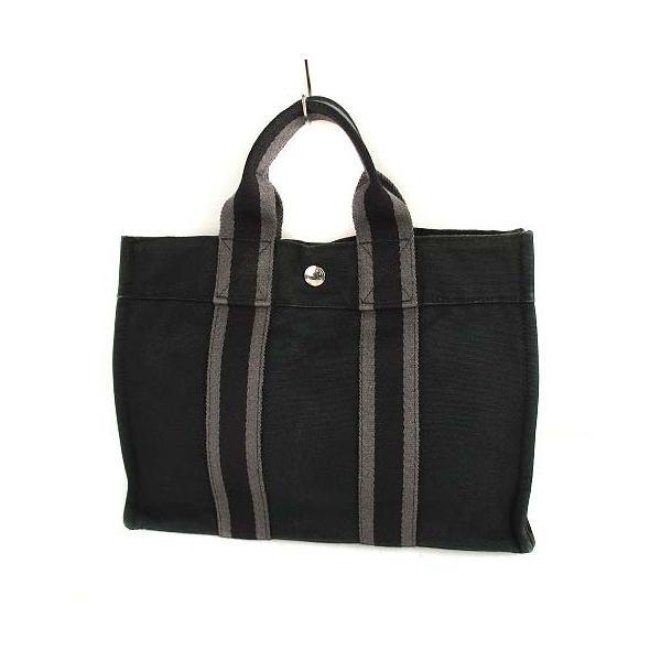 中古 エルメスHERMESフールトゥPMトートバッグハンドバッグかばん鞄キャンバスブラックグレーメンズレディース ベクトル古着