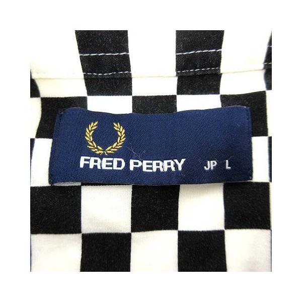 【中古】フレッドペリー FRED PERRY シャツ 長袖 ボタンダウン チェッカーボード ルーディーズ L ブラック ホワイト 国内正規 R13313 メンズ 【ベクトル 古着】|vectorpremium|03