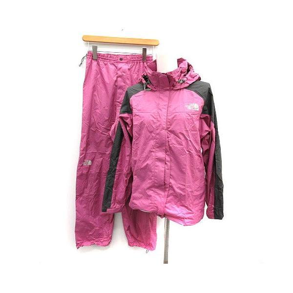 【中古】ザノースフェイス ハイベントレインテックス セットアップ 上下 レインスーツ ウェア ジャケット パンツ M ピンク チャコールグレー|vectorpremium
