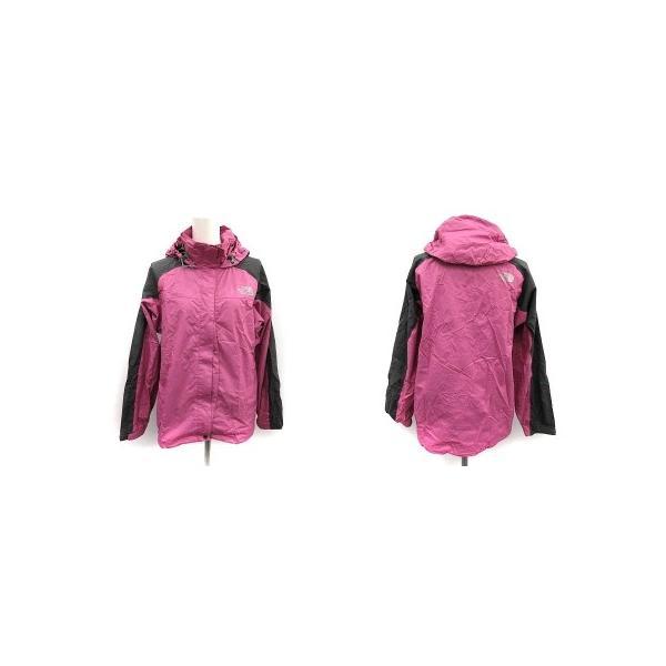 【中古】ザノースフェイス ハイベントレインテックス セットアップ 上下 レインスーツ ウェア ジャケット パンツ M ピンク チャコールグレー|vectorpremium|02
