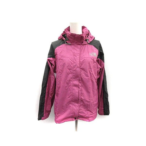 【中古】ザノースフェイス ハイベントレインテックス セットアップ 上下 レインスーツ ウェア ジャケット パンツ M ピンク チャコールグレー|vectorpremium|08