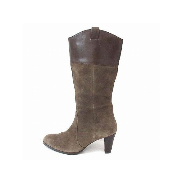 ソフィアコレクション Sophia collection ブーツ ウエスタン ミドル ヒール 切替 レザー スエード 茶 23.5 靴 レディース【ベクトル 】
