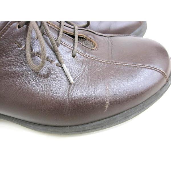 アシックス asics ペダラ pedala ウォーキングシューズ ブラウン 23cm EEE レザースニーカー WPH657 レースアップ 靴 茶系 レディース【中古】【ベクトル 古着】