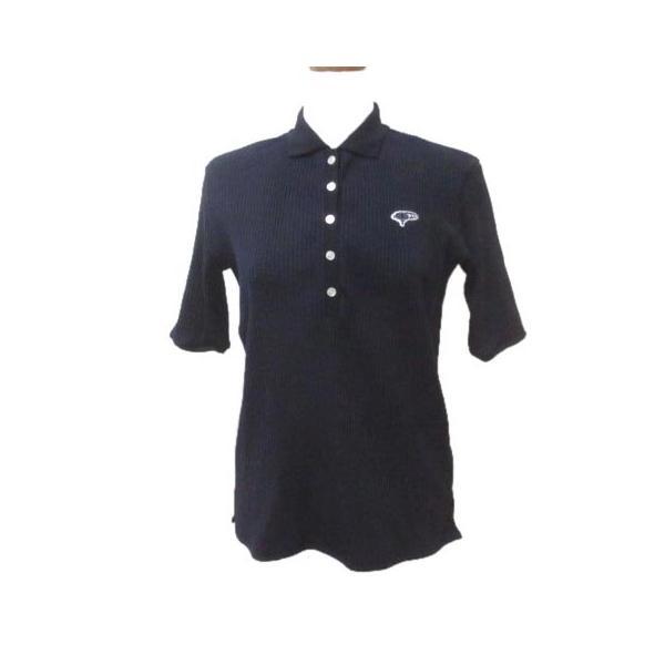 中古 ビームスゴルフBEAMSGOLF19AW5分袖五分袖カットソー立体リブポロシャツ83-02-0253-690紺ネイビーM