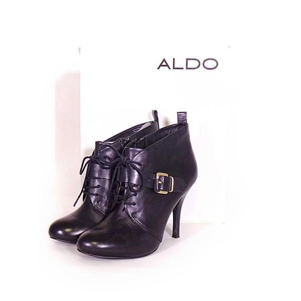 アルド ALDO レースアップブーティ シューズ ベルト 25.5cm レザー 黒 レディース 【ベクトル 古着】【中古】