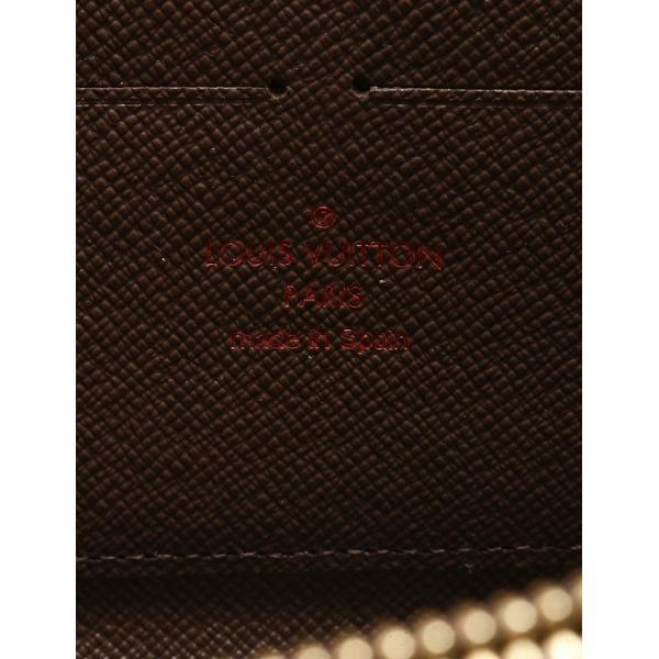 ルイヴィトン LOUIS VUITTON 長財布 ダミエ エベヌ 茶色 ブラウン 小物 レザー N60015 ジッピーウォレット ラウンドファスナー レディース 【中古】