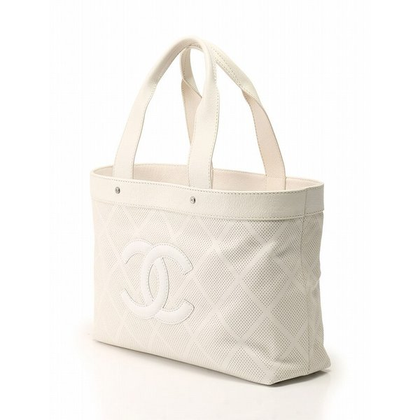 シャネル CHANEL トートバッグ ハンドバッグ 白 ホワイト パンチング レザー 保存袋 ギャラ付き レディース【ベクトル 】