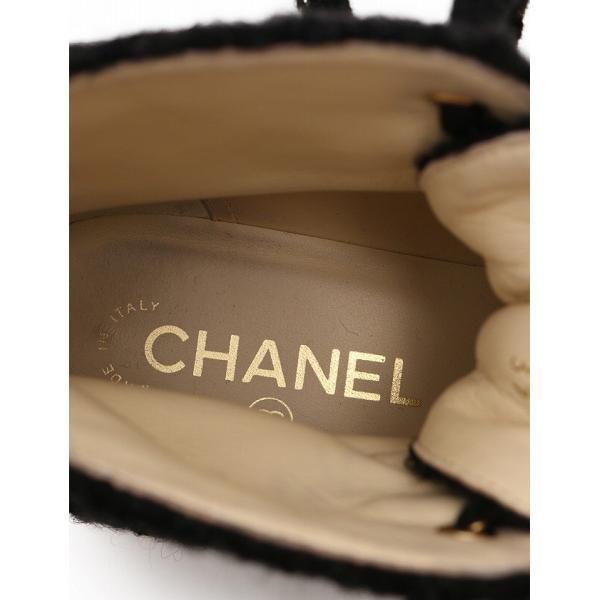 シャネル CHANEL ショートブーツ スニーカーブーツ ココマーク 17A 黒 ブラック 24cm シューズ 37 C ツイード G33007 箱 保存袋付き レディース【中古】