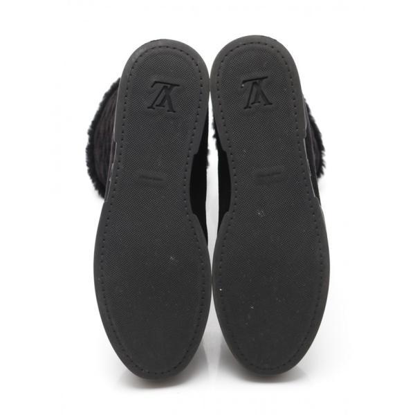 ルイヴィトン LOUIS VUITTON ブーツ モノグラム 黒 37.5 シューズ 24cm ムートン PVC キルティング 2016AW レディース【中古】【ベクトル 古着】