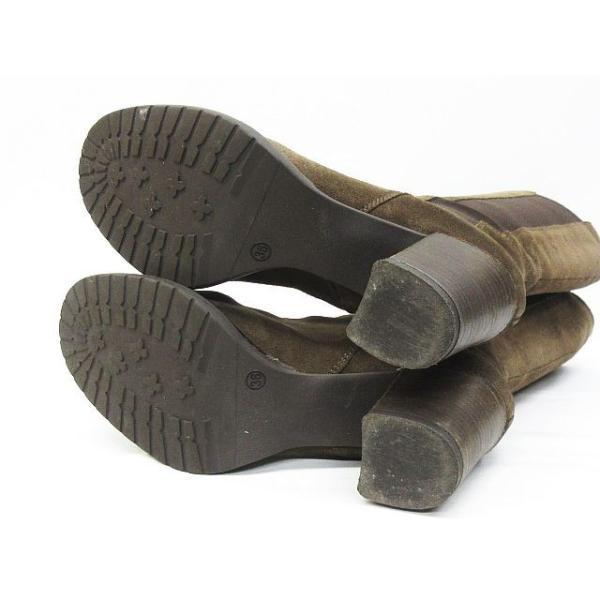 ナナ nana' ロング ブーツ サイドゴア レザー 牛革 靴 ブラウン 36 ※KM-3446 ※01  レディース【中古】【ベクトル 古着】