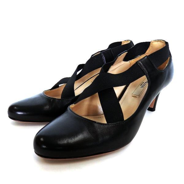 中古 プラダPRADAクロスストラップパンプスシューズ靴34ブラック黒1L361DF055レディース ベクトル古着