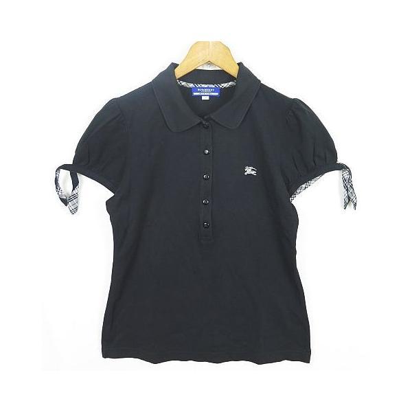 【中古】バーバリーブルーレーベル BURBERRY BLUE LABEL 鹿の子 ポロシャツ パフスリーブ リボン 38 ブラック sa7582 レディース 【ベクトル 古着】|vectorpremium