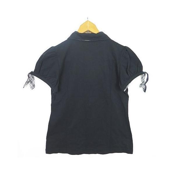 【中古】バーバリーブルーレーベル BURBERRY BLUE LABEL 鹿の子 ポロシャツ パフスリーブ リボン 38 ブラック sa7582 レディース 【ベクトル 古着】|vectorpremium|02