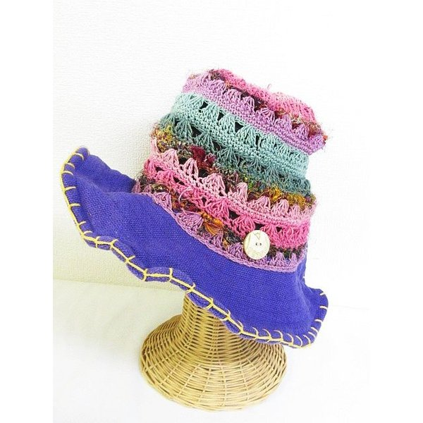 帽子 ハット かぎ編み ワイヤー マルチ 紫  レディース【中古】【ベクトル 古着】