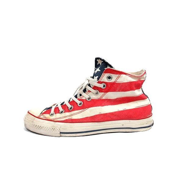 コンバース CONVERSE ALL STAR スニーカー シューズ 国旗 アメリカ キャンバス 8.5 ベージュ 赤 /MR ■CA直1 メンズ【中|vectorpremium