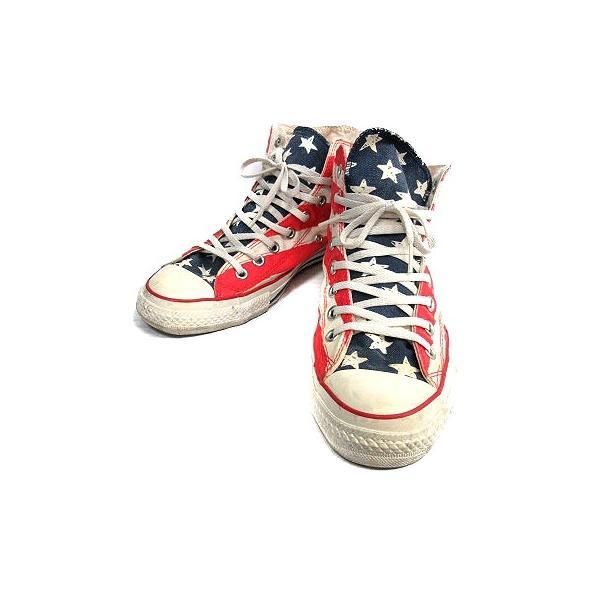 コンバース CONVERSE ALL STAR スニーカー シューズ 国旗 アメリカ キャンバス 8.5 ベージュ 赤 /MR ■CA直1 メンズ【中|vectorpremium|02