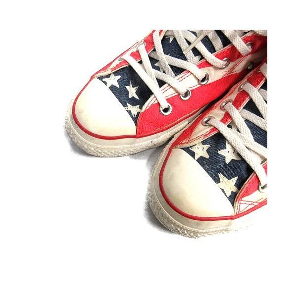 コンバース CONVERSE ALL STAR スニーカー シューズ 国旗 アメリカ キャンバス 8.5 ベージュ 赤 /MR ■CA直1 メンズ【中|vectorpremium|03