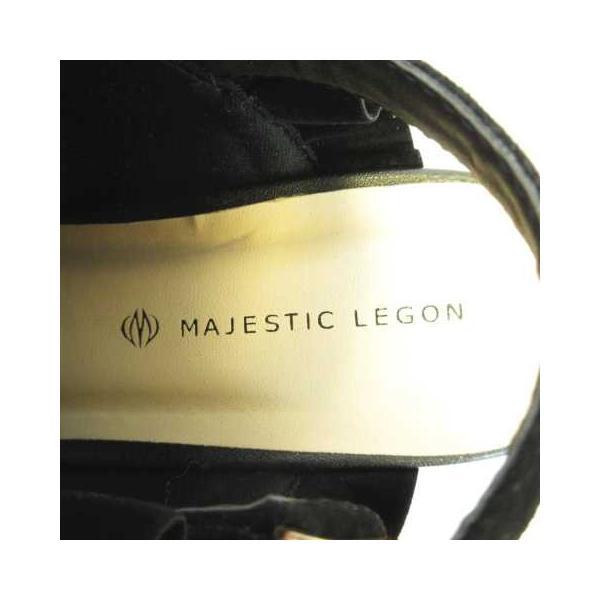 マジェスティックレゴン MAJESTIC LEGON フリル サボサンダル オープントゥ チャンキーヒール Fスエード バックストラップ ブラック 黒 M AS0315 レディース