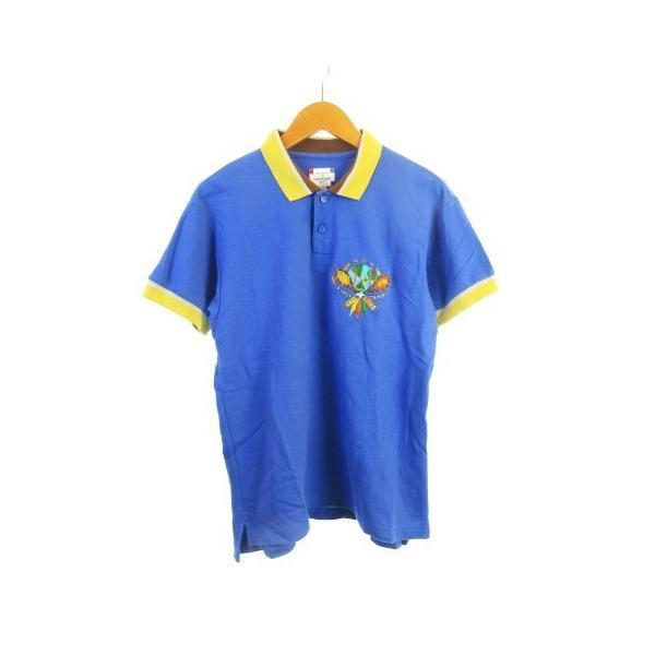 【中古】カステルバジャック CASTELBAJAC sport テニスウェア ポロシャツ 鹿の子 刺繍 半袖 リブ ブルー 青 2 【ベクトル 古着】|vectorpremium