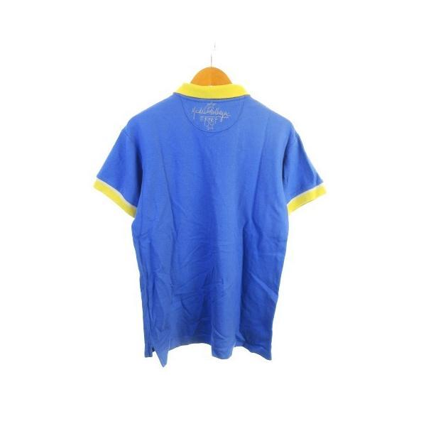 【中古】カステルバジャック CASTELBAJAC sport テニスウェア ポロシャツ 鹿の子 刺繍 半袖 リブ ブルー 青 2 【ベクトル 古着】|vectorpremium|02