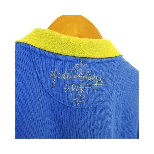 【中古】カステルバジャック CASTELBAJAC sport テニスウェア ポロシャツ 鹿の子 刺繍 半袖 リブ ブルー 青 2 【ベクトル 古着】|vectorpremium|05